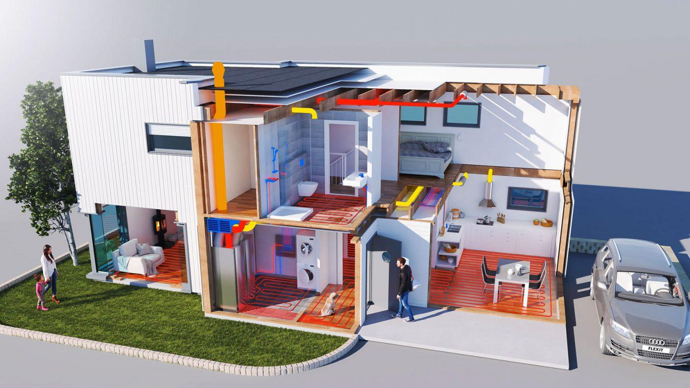 Føringer for ventilasjon, varme og tappevann som er plassert i teknisk rom vises i denne illustrasjonen.