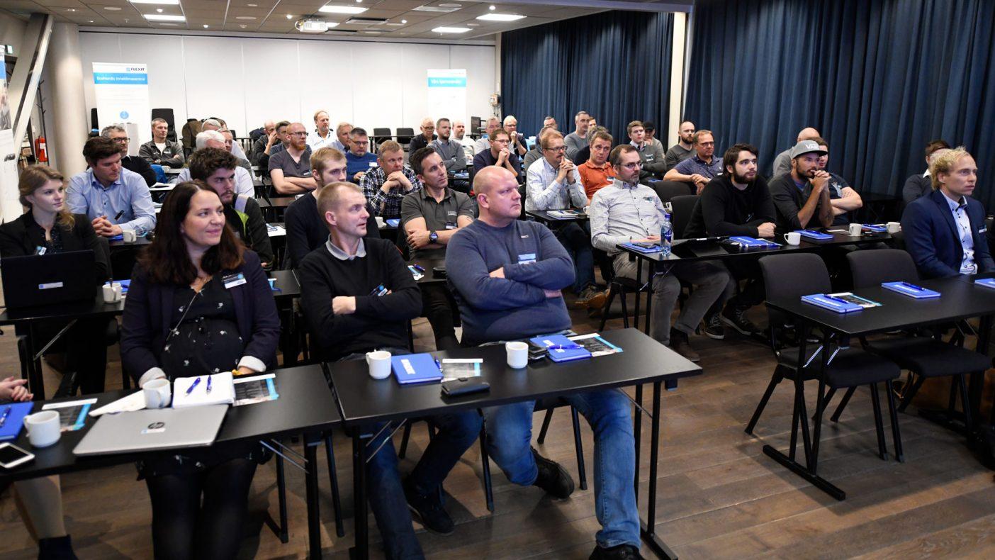Mange partnere med Flexit lyttet til foredrag på onsdag.