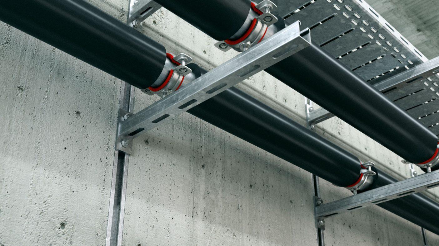 Motek leverer innfesting for rør og annet i både vegger og tak.