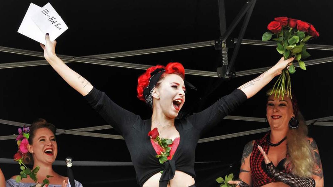 Stina Stephens vant nylig en konkurranse med pinup under Grensetreffet i Halden.