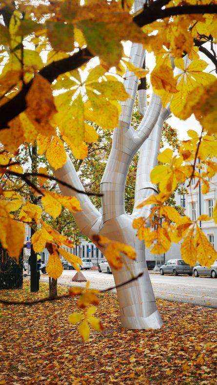 Her står rustningen på treet mellom blader i parken.