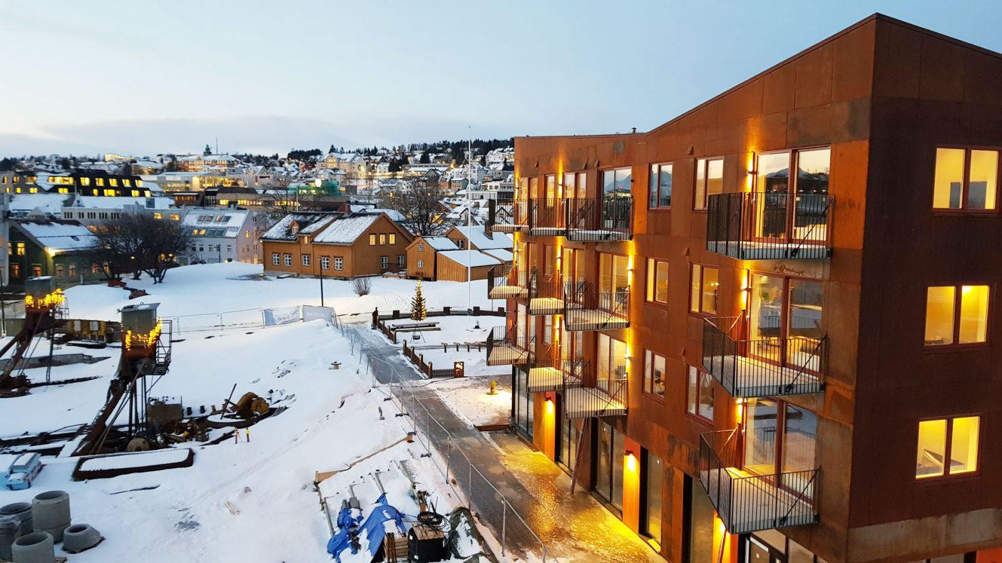 Leilighetene blir sentralt ved broa i Tromsø. Foto: Brage Einset