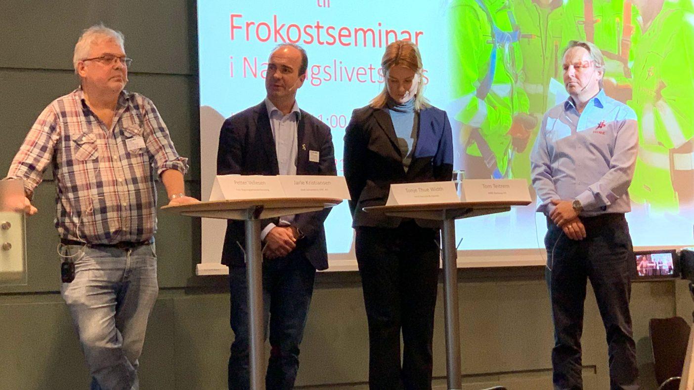 Her er de fire som snakket om innleie. Petter Vellesen (t.v.), Jarle Kristiansen, Tonje Thue Widt og Tom Teitrem.